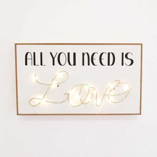 'All You Need Is Love' LED Light Up Plaque
