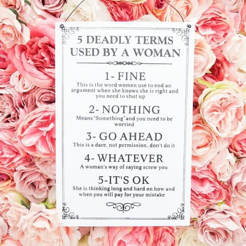 5 Deadly Terms Used By A Women Metal Plaque