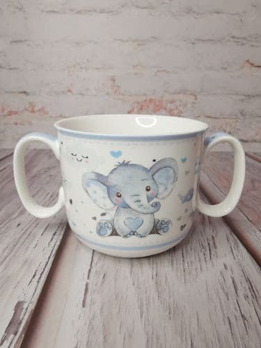 Bird & Ellie Twin Handled Mug-Blue