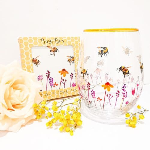 Busy Bee Stemless Glass