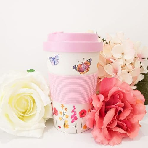 Butterfly Garden Bamboo Travel Mug