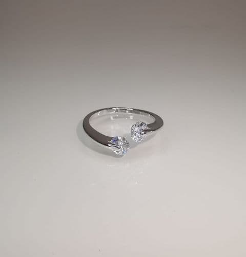 Captured Silver Crystal Ring