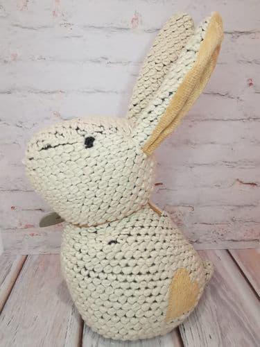 Knitted Beige Bunny Doorstop
