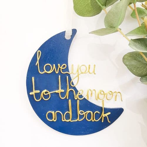 Love You To The Moon And Back - Navy Blue
