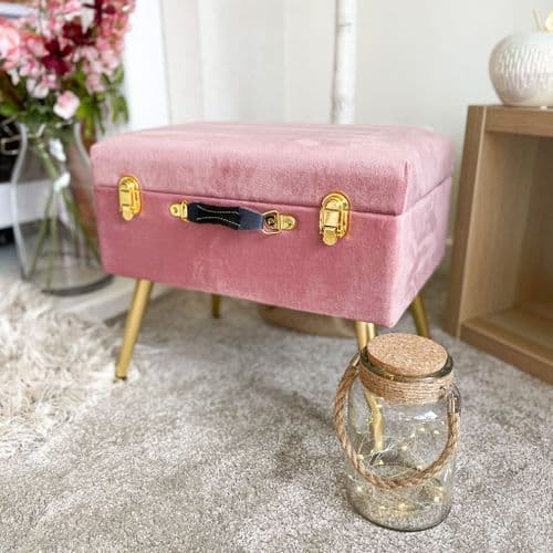 Luxury Pink Velvet Storage Stool