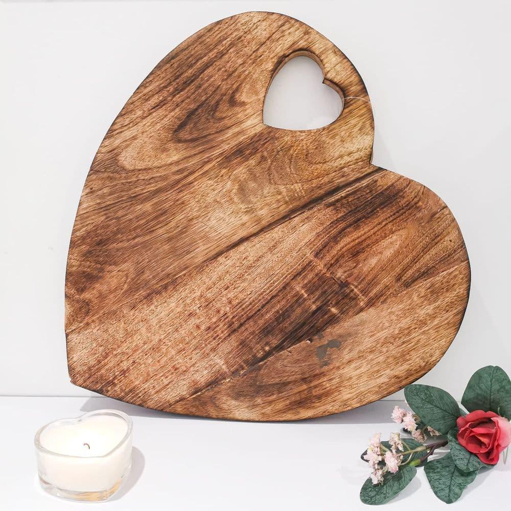 Natural Wooden Heart Chopping Board