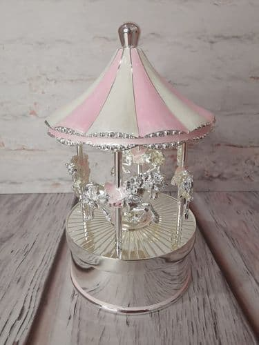 Pink & Silver Musical Carousel
