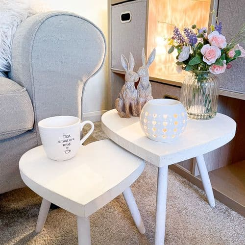 Set Of 2 Natural Wooden Heart Shaped Tables