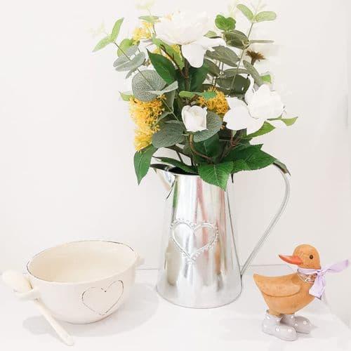 Silver Metal Jug With Camelia & Eucalyptus Yellow Flower