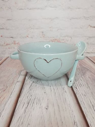Soup Bowl With Spoon-Blue