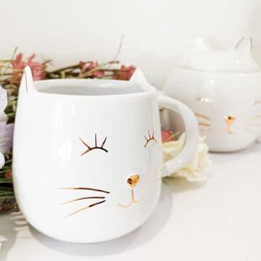 White Ceramic Cat Mug