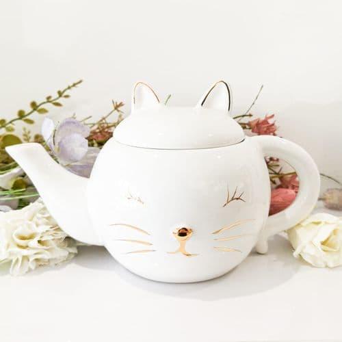 White Ceramic Cat Teapot