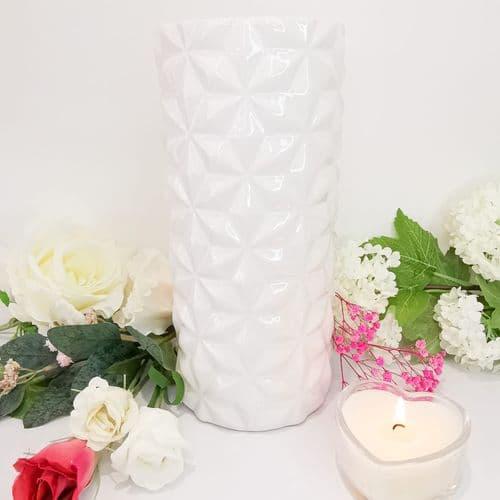 White Lustre Cylinder Vase