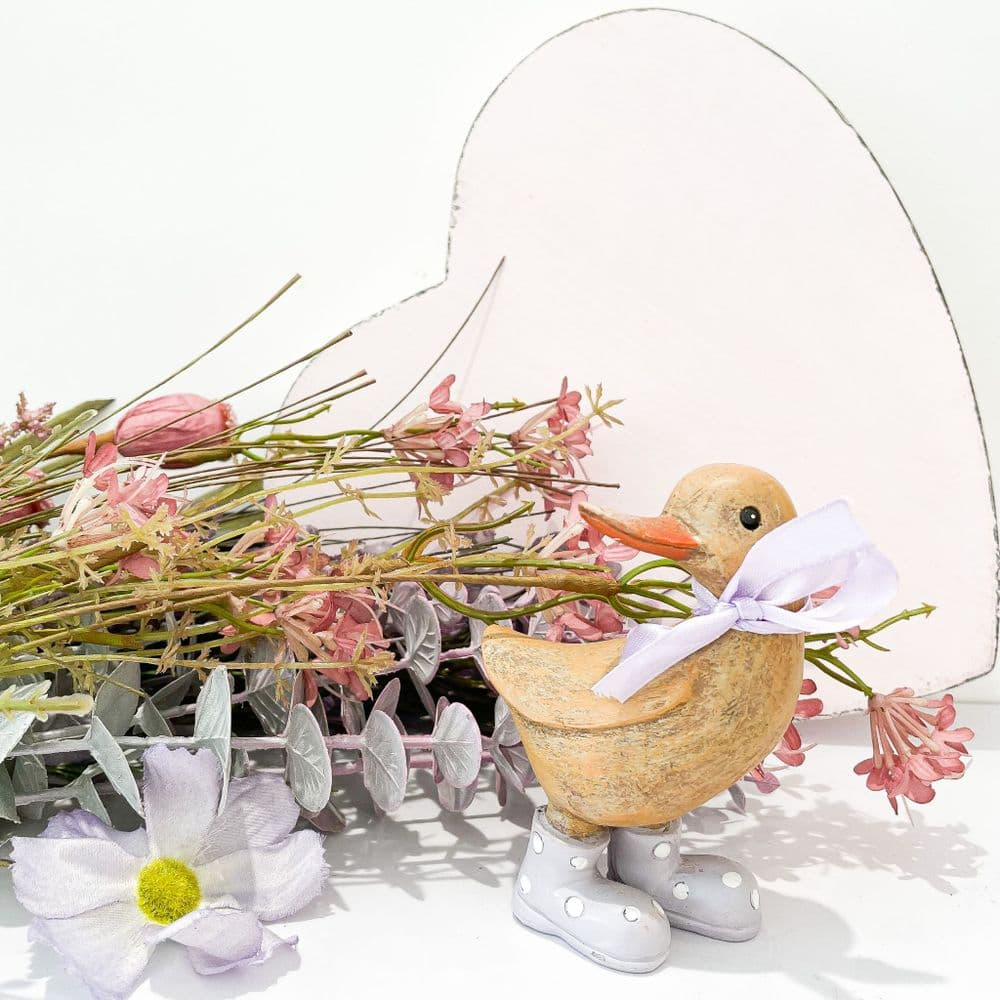 Wooden Duck In Lilac Boots
