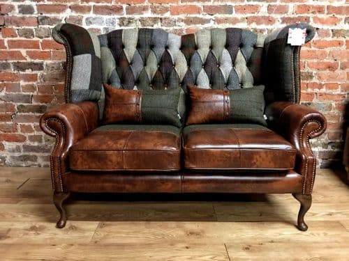 2 seater highback patchwork sofa