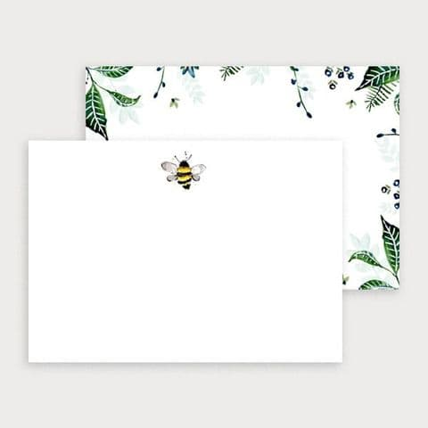 Bee and Foliage Notecard Set - 6 Cards