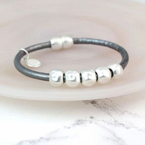 Grey Leather Bracelet with Matt Silver Plated Beads