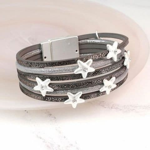 Grey Leather Bracelet With Silver Plated Crystal Stars