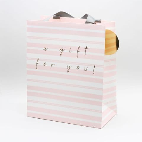 Large Portrait Gift Bag  - A Gift For You Pink Stripe