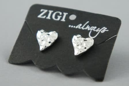 Petra - Hammered Heart Design Stud Earrings - 3 Colour Choices