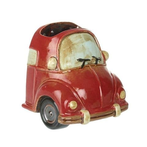 Quirky VW Bug Ceramic Wall Planter - Indoor or Outside