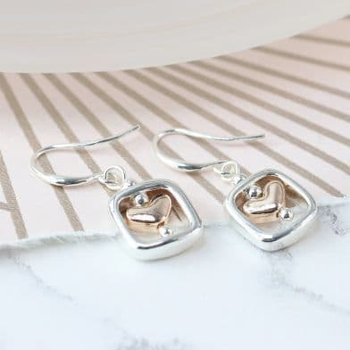 Rose Gold & Silver Heart Square Drop Earrings