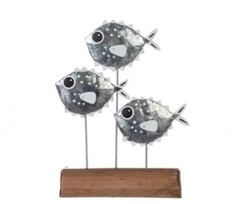 School of Silver Puffer Fish on Rustic Wood Stand