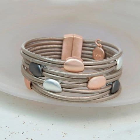 Taupe Leather and Mixed Metallic Pebbles Bracelet