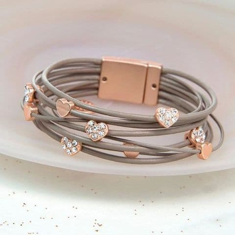 Taupe Leather Bracelet with Rose Gold and Crystal Hearts