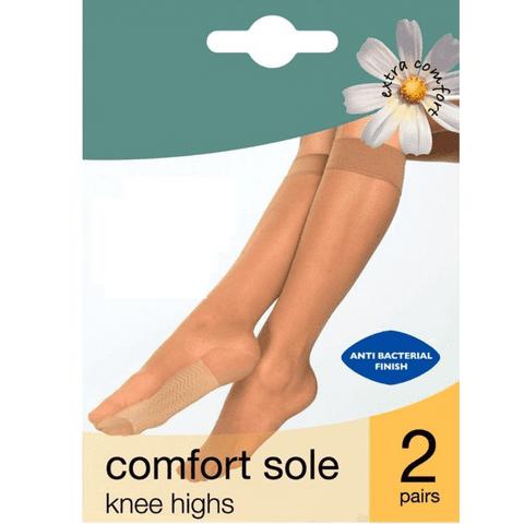 2 PACK COMFORT SOLE SHEER KNEE HIGHS POP SOCKS, 20 DENIER