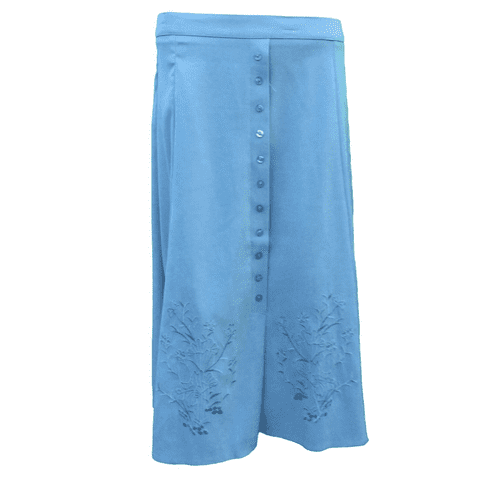 """BLUE SUEDE FEEL A-LINE SKIRT, EMBROIDERED, 27"""" LENGTH"""
