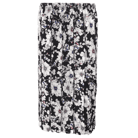 """BOX PLEATED SKIRT, BLACK & WHITE FLORAL, 27"""" FLORAL"""