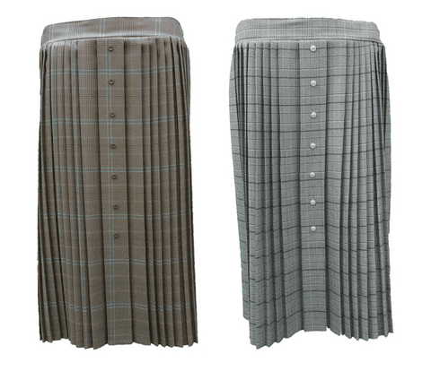 """CHECK PLEATED SKIRT, FRONT BUTTON, ELASTIC, 27"""" LENGTH"""