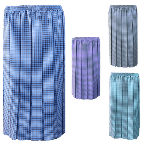 """DOGTOOTH SQUARE CHECK PLEATED SKIRT, 27"""" LENGTH"""