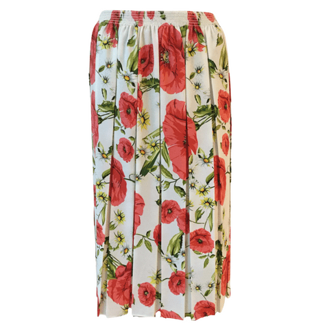 """WHITE FLORAL BOX PLEATED SKIRT, SOFT, 27"""" LENGTH"""