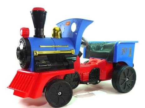 Ride on Kids Electric 12v Battery Powered Play Train Engine + ADD ON COAL TRUCK CARRIAGE - Blue