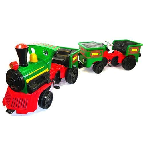 Ride on Kids Electric 12v Battery Powered Play Train Engine + ADD ON COAL TRUCK CARRIAGE- Green