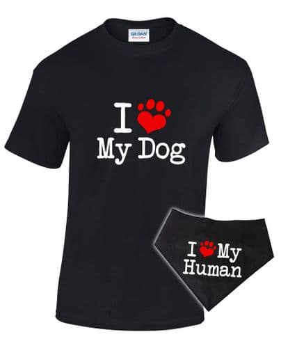 I Love My...' T-shirt & Bandana - Matching Pet and Owner Outfit