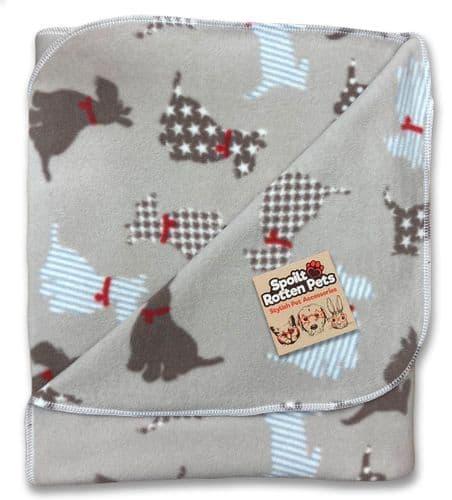 Beige Scottie Dog Pattern Double Thickness Fleece Blanket