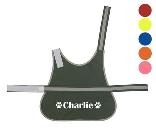 Personalised Name With Paw High Visibility Lightweight Coat