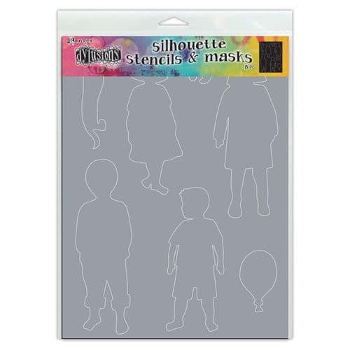 "**Dylusions - Stencil - 9x12"" - Grandkids Silhouette"