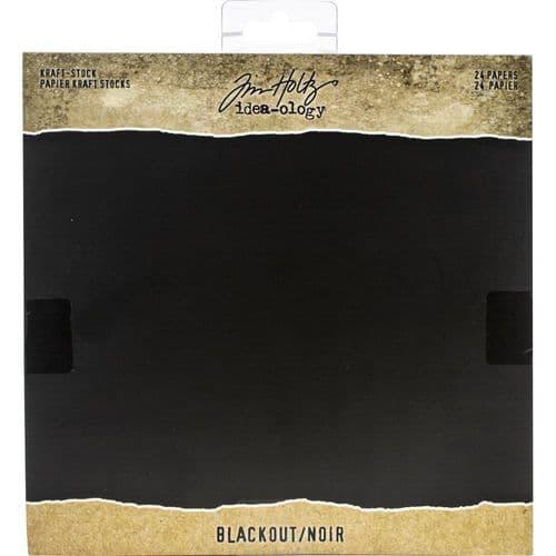 "*Tim Holtz - Kraft Stock Cardstock - Blackout 8x8"""