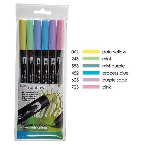 *Tombow - ABT Dual Brush Pen - 6 Set - Pastel
