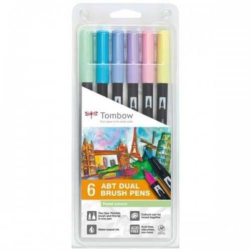 *Tombow - ABT Dual Brush Pen - 6 Set  Pastel Colours