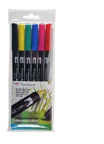 *Tombow - ABT Dual Brush Pen - 6 Set - Primary