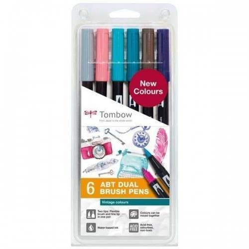 *Tombow - ABT Dual Brush Pen - 6 Set  Vintage Colours