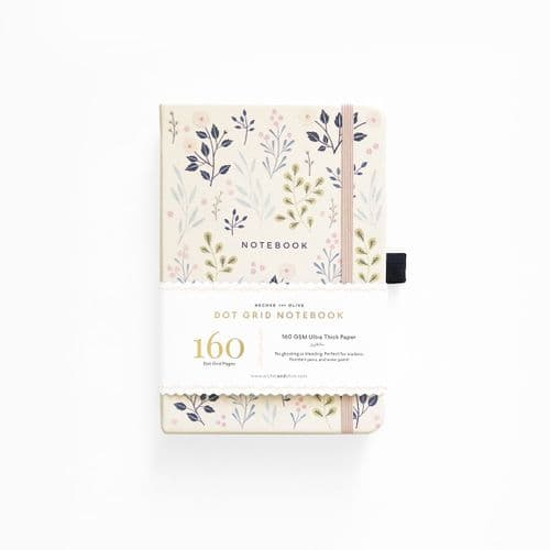 Archer & Olive - A5 Signature Dot Grid Notebook - Pink Flowers