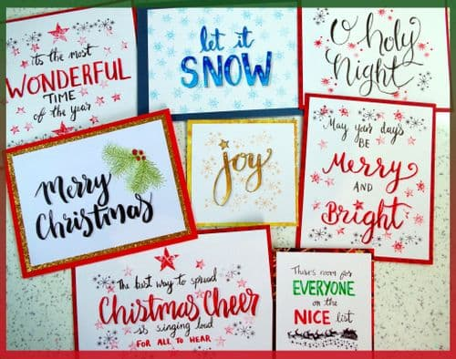 Brush lettering Christmas Cards by Michelle