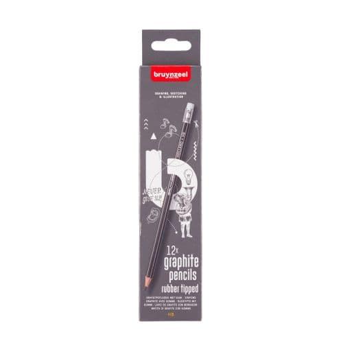 Bruynzeel - HB Graphite Pencil with Eraser Tip - 12pack