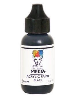 Dina Wakley Media - Acrylic Paints - 1oz Bottle - Black